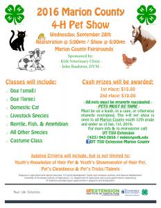2016 Pet Show Flyer