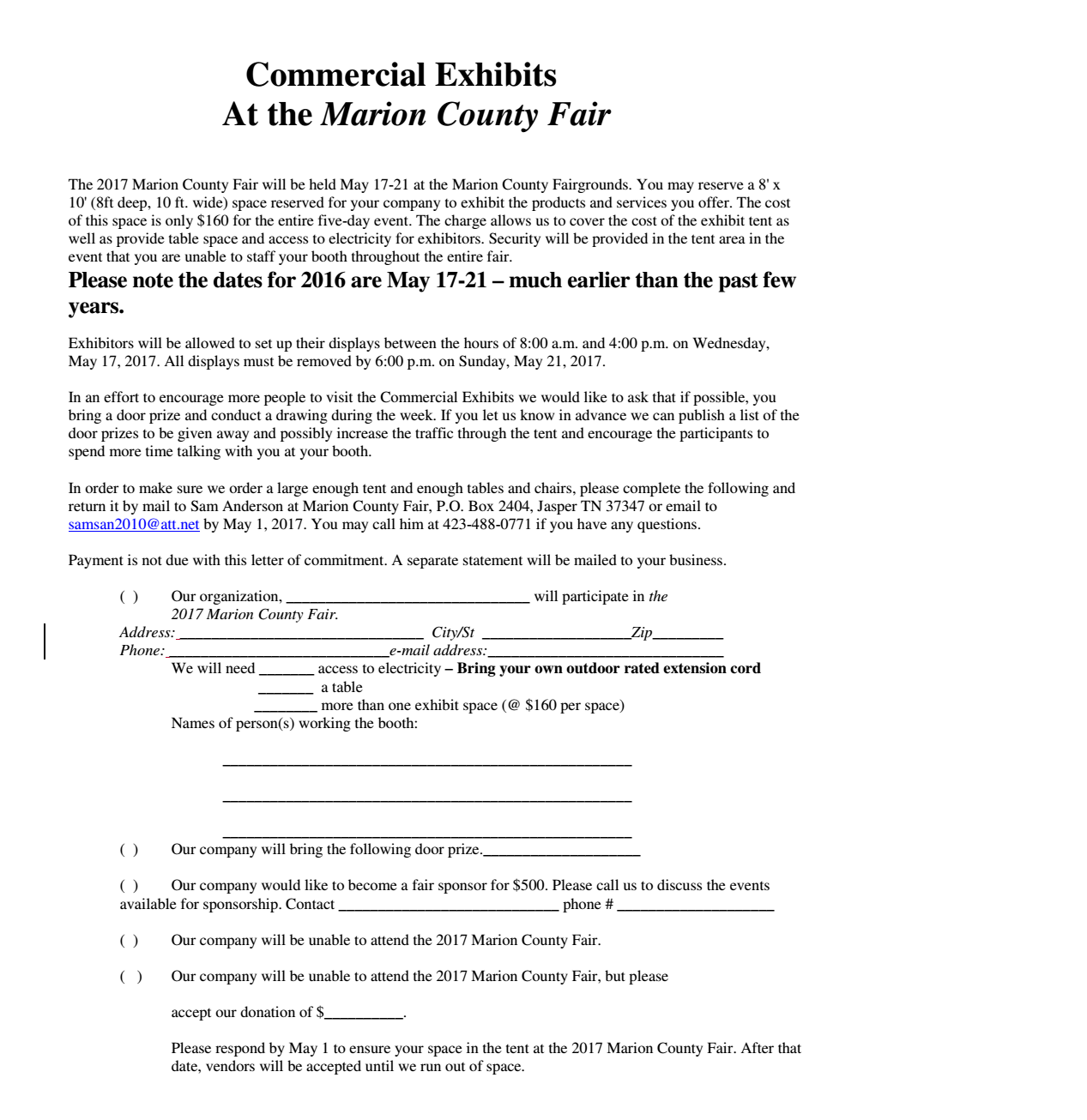 Commercial Exhibitor and Vendor Information